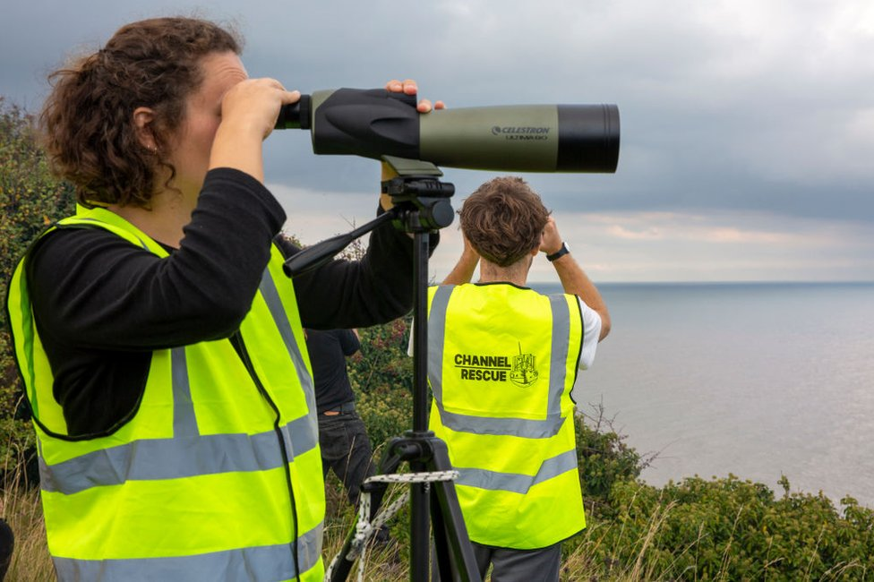 Members of Channel Rescue with telescopes