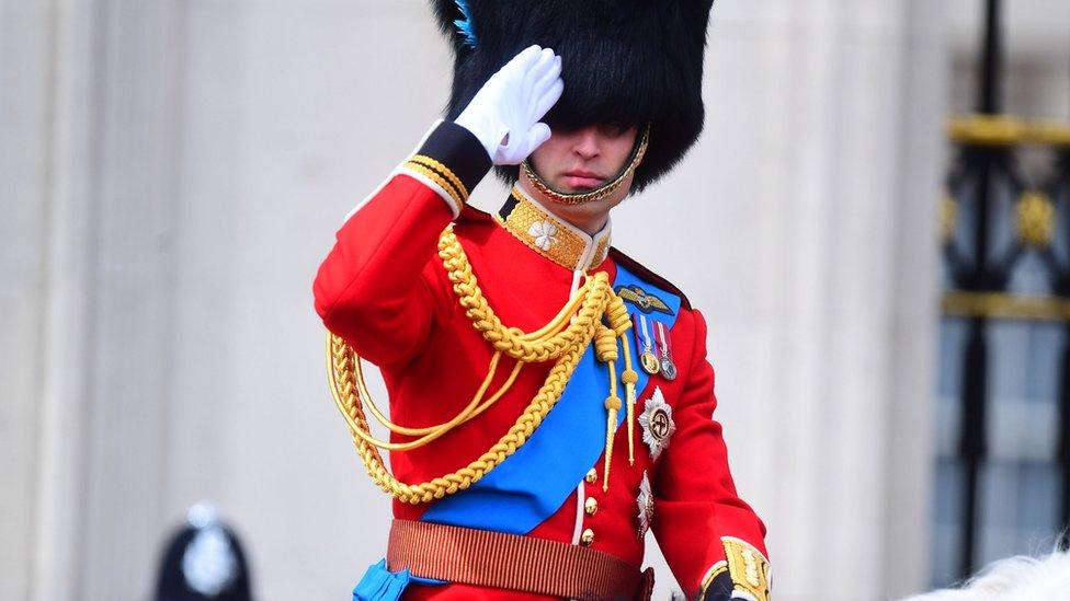 The Duke of Cambridge rides on horseback to Horse Guards Parade