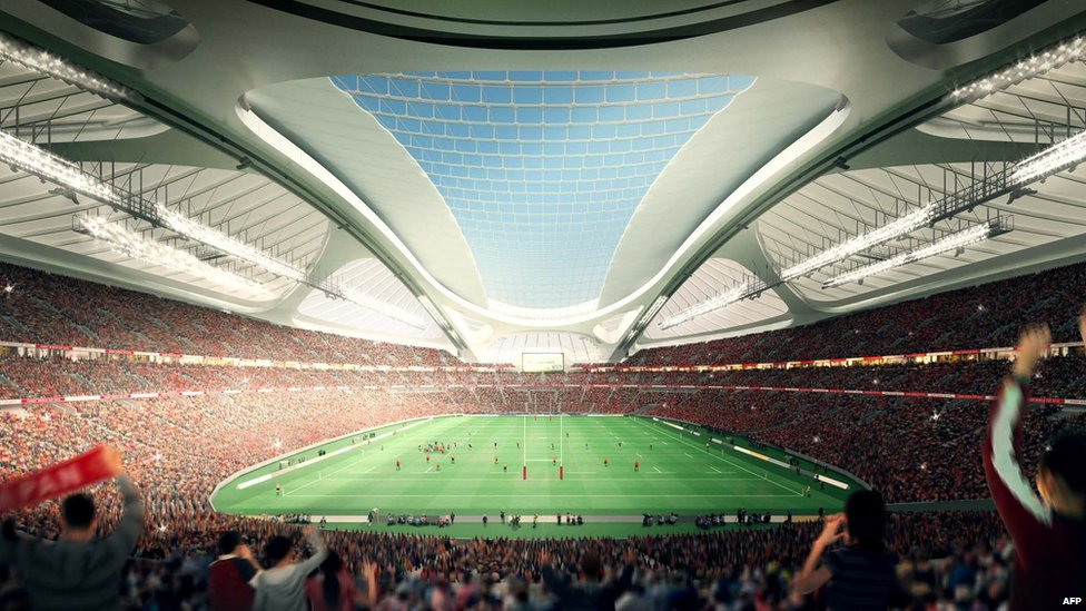 This illustration released from Japan Sport Council on May 28, 2014 shows an artist's impression of the National Stadium for the 2020 Olympic Games in Tokyo, designed by Iraqi-British architect Zaha Hadid
