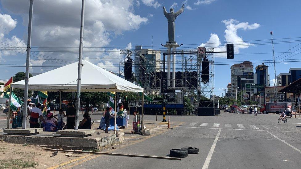 Así lucía este martes la zona cercana al epicentro de las movilizaciones en Santa Cruz.