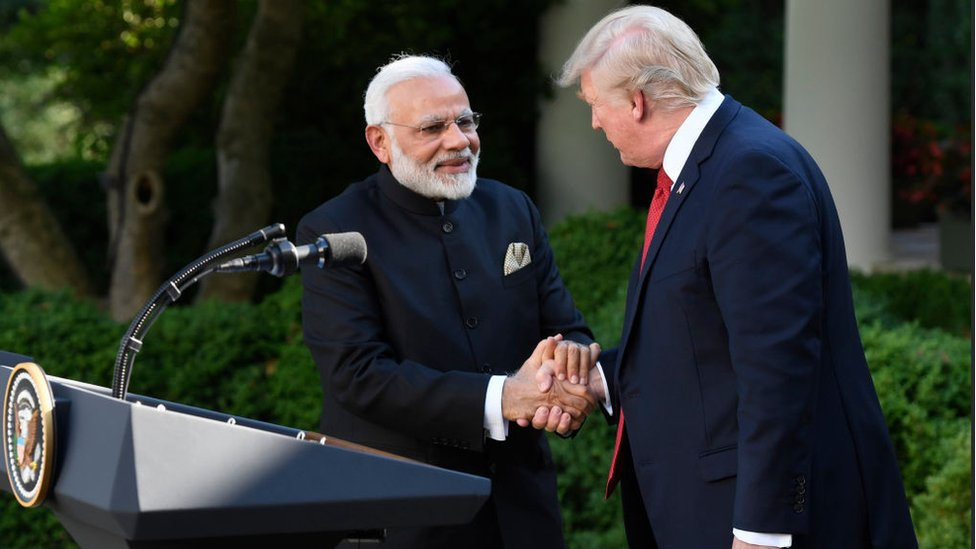 US President Donald Trump and Indian Prime Minister Narendra Modi shake hands while delivering joint statements in the Rose Garden of the White House June 26, 2017