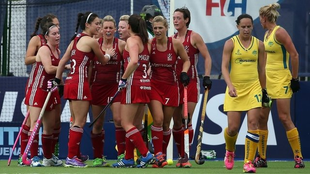 GB celebrate after scoring against Australia