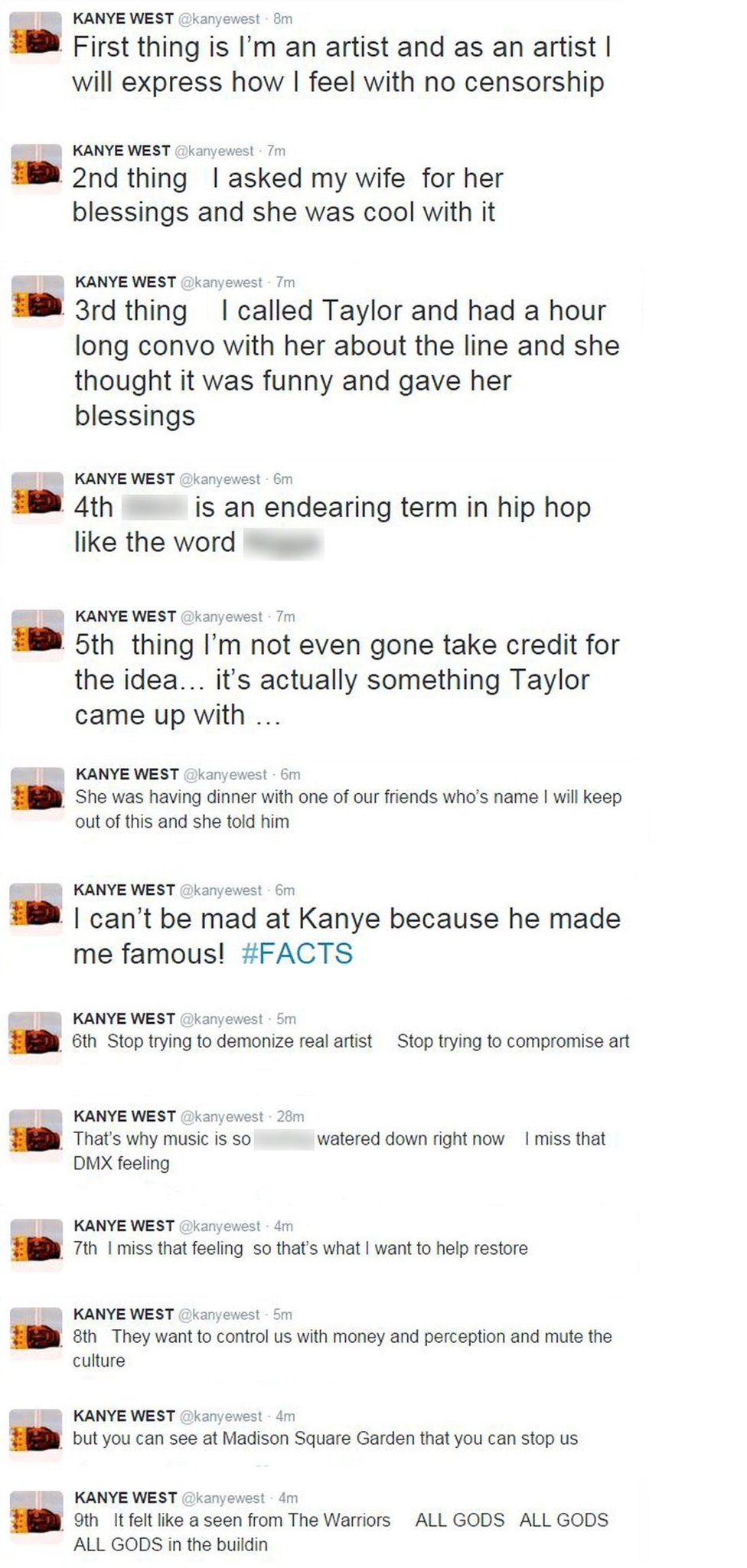 Kanye's Tweets, in chronological order
