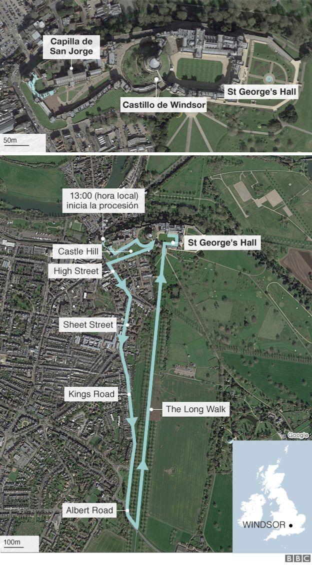 Mapa del recorrido de la boda.
