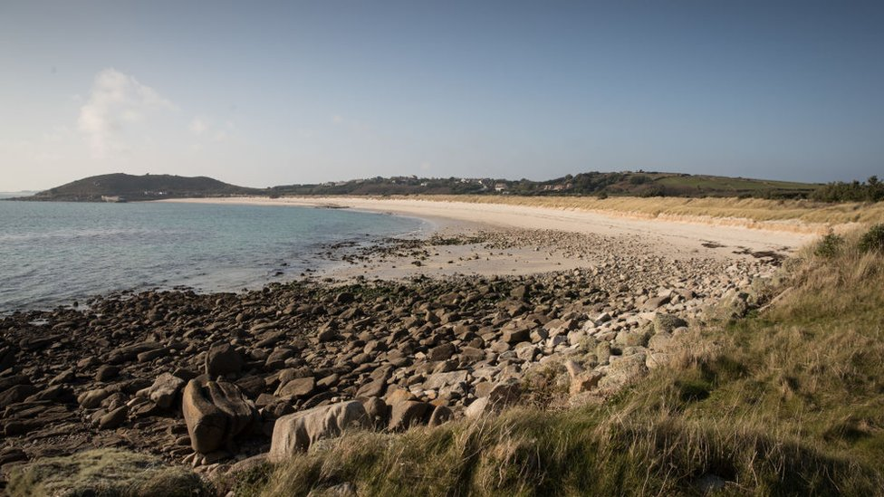 A sandy beach in the Isles of Scilly
