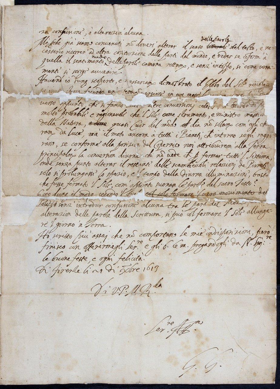 Carta de Galileo Galilei (1564-1642) a Benedetto Castelli, del 21 de diciembre de 1613.