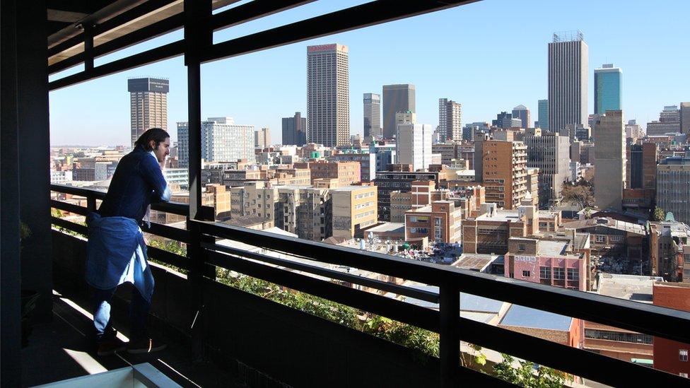 Jonathan Liebmann looks over the Johannesburg inner city area of Maboneng