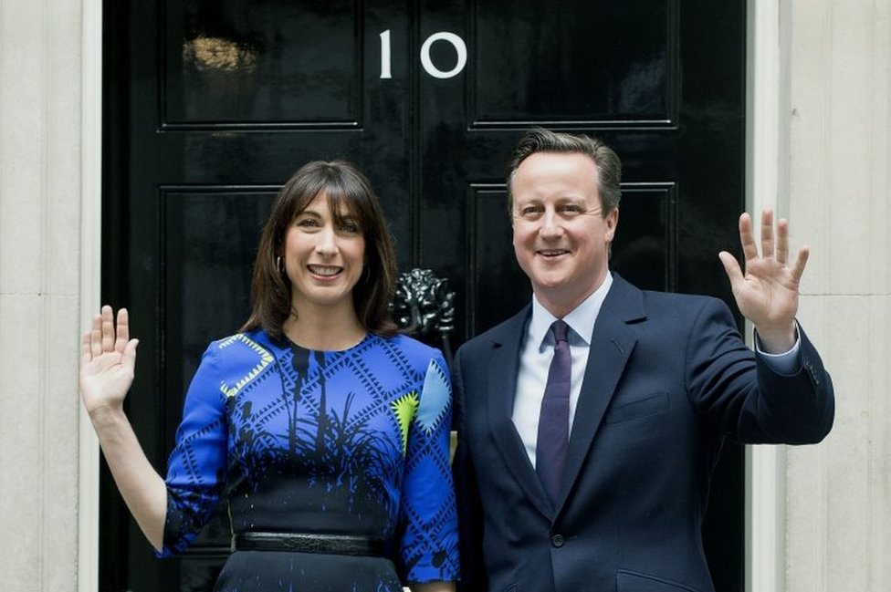 Samantha and David Cameron after Conservatives' 2015 general election victory