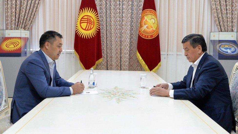 President Sooronbay Jeenbekov (right) and Sadyr Japarov (left)