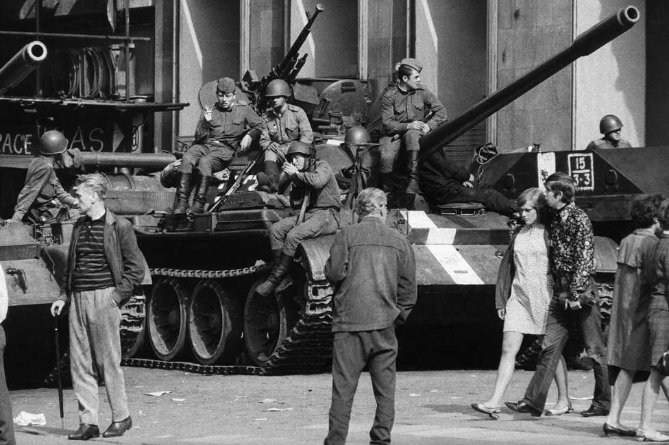 Soviet tanks on the streets of Prague, 21 Aug 68