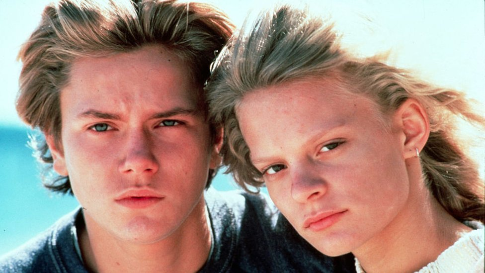 "River Phoenix en ""Running on Empty"", 1988, junto a Martha Plimpton."