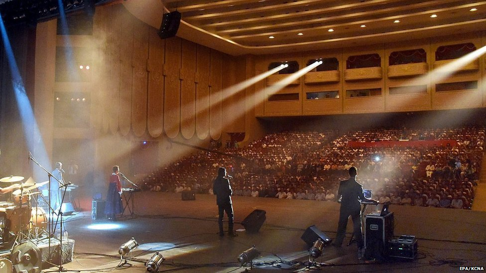 A picture made available by the Korean Central News Agency (KCNA) shows members of the Laibach Band of Slovenia perform at the Ponghwa Art Theatre in Pyongyang, North Korea, 19 August 2015.