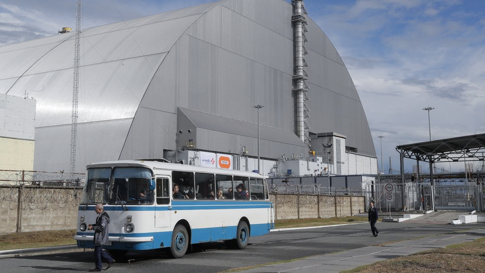 A general view of the new Safe Confinement covering the 4th block of Chernobyl Nuclear power plant
