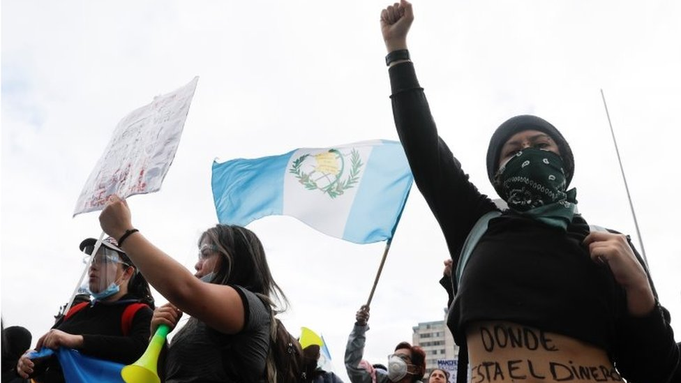 Demonstrators shout slogans during a protest to demand the resignation of President Alejandro Giammattei in Guatemala City, Guatemala November 22, 2020