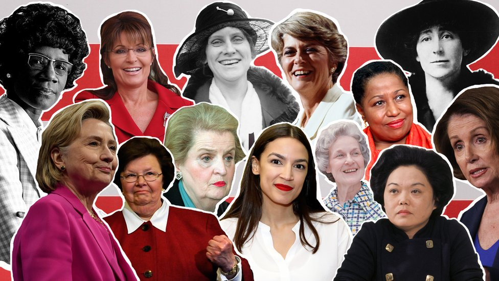 Collage image, in front of red and white stripes showing notable female politicians