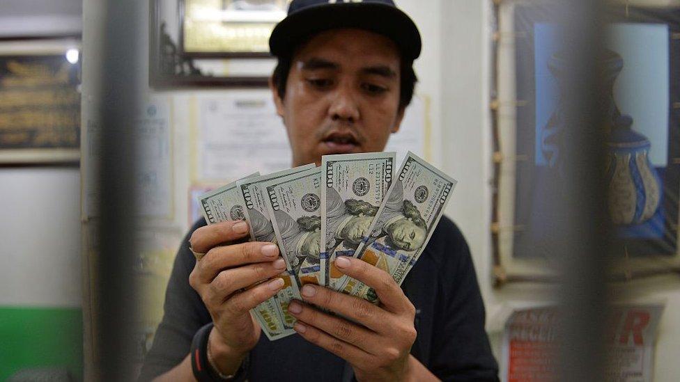 Hombre con dólares