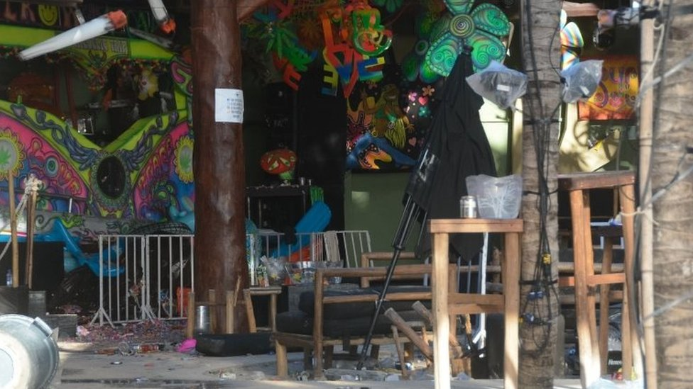 View of the Blue Parrot nightclub in Playa del Carmen, Quintana Ro state, Mexico where a number of people were killed during a music festival on January 16, 2017.