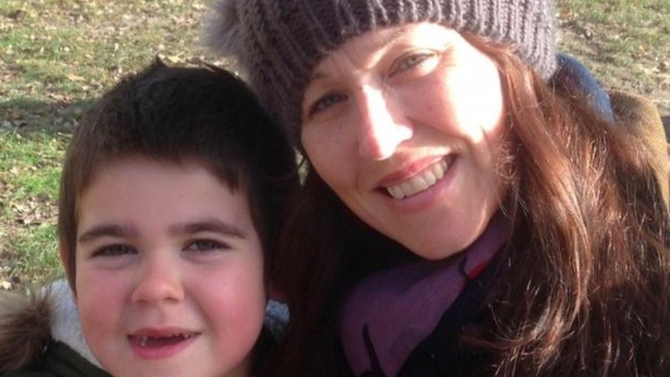 Alfie Dingley and his mother