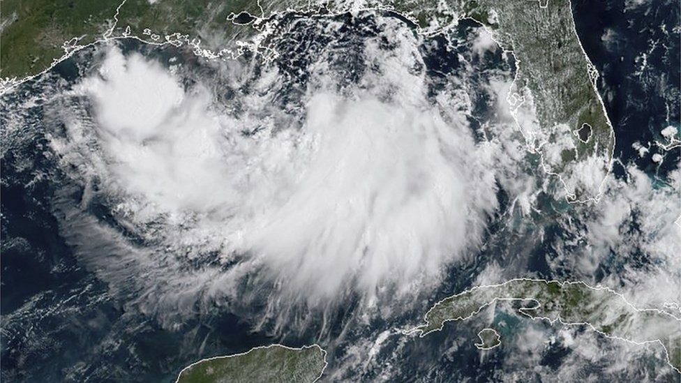 Imagen satelital del Golfo de México.