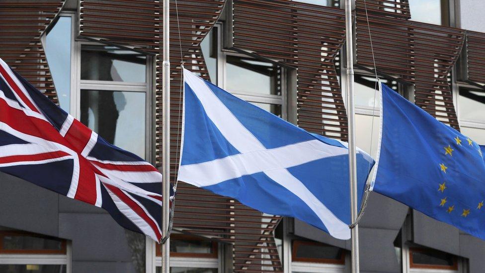 Union flag, saltire and EU flag