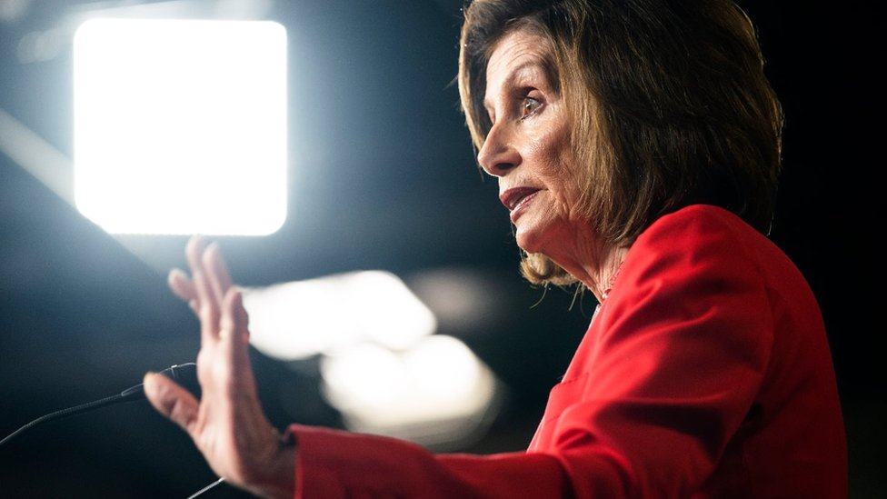 Democratic Speaker of the House from California Nancy Pelosi speaks on the border bill showdown between House and Senate lawmakers in the US capitol in Washington