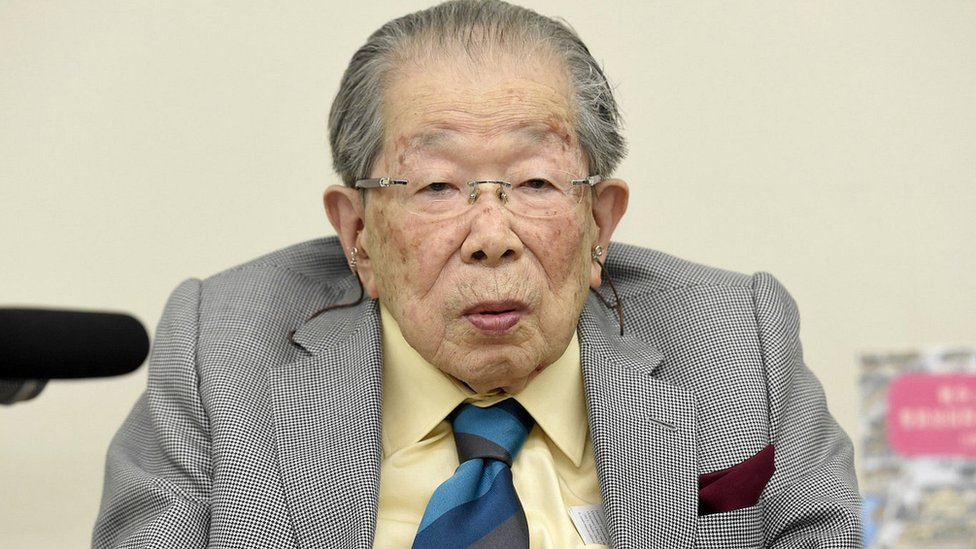 Japanese doctor Shigeaki Hinohara attends a news conference in Tokyo, Japan by Kyodo on September 25, 2015