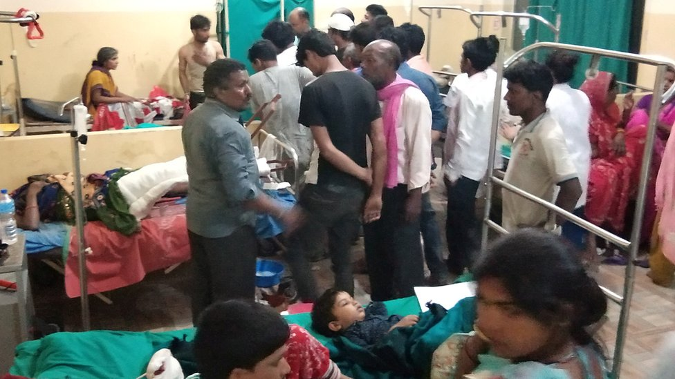 Victims of a thunderstorm are treated at a hospital in Parsha District, Nepal March 31, 2019