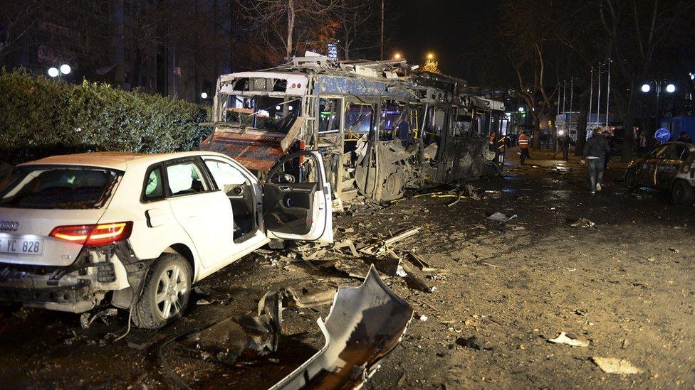 Scene of blast in Ankara. 13 March 2016
