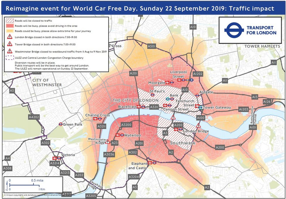 Map of roads affected by Car Free Day