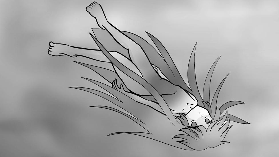 Manga image of person floating