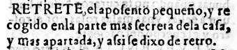 Entrada de retrete en el diccionario de 1611 del Nuevo tesoro lexicográfico de la lengua española (NTLLE)