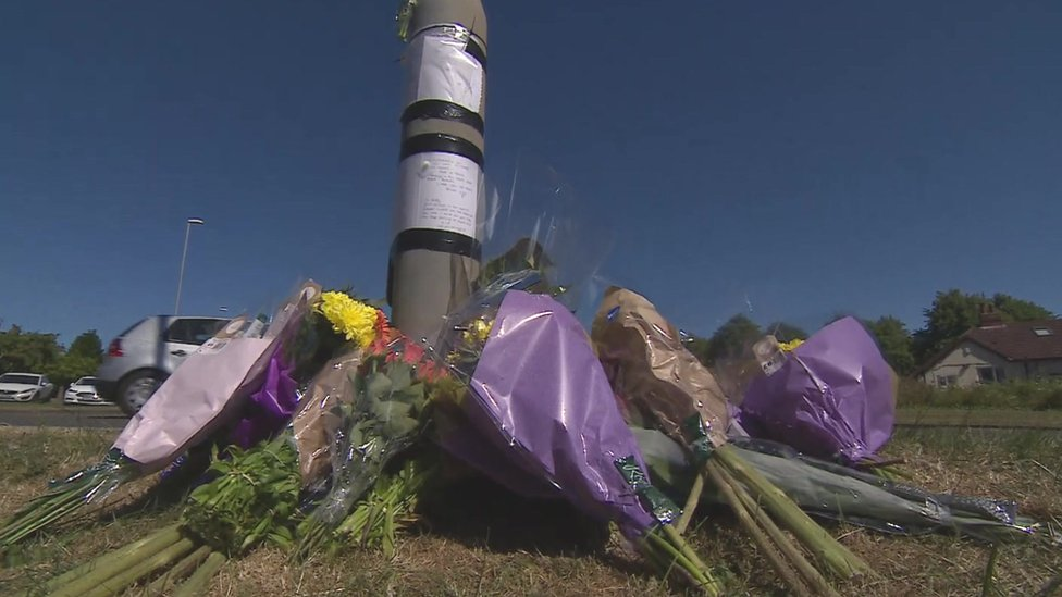 Flowers near crash scene in Horsforth