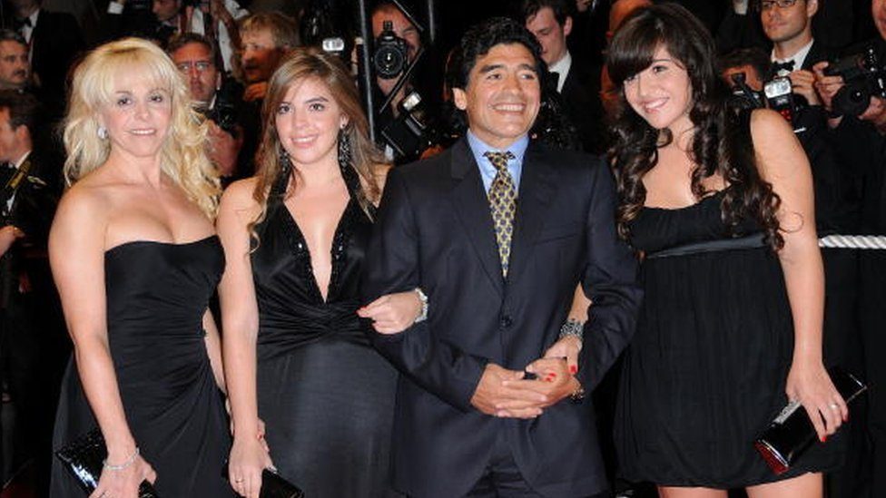 Maradona with his former wife Claudia Villafane (L) and daughters at Cannes film festival in 2008
