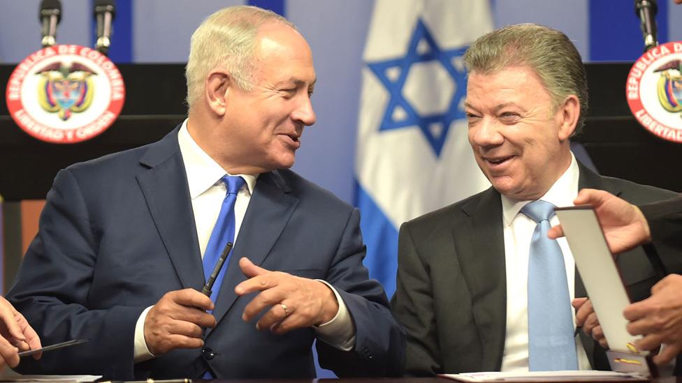Benjamín Netanyahu y Juan Manuel Santos