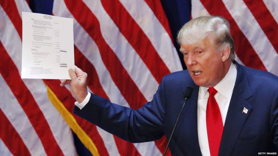 Donald Trump at his presidential campaign kick-off.