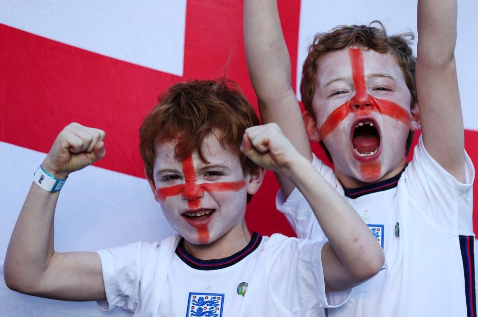 Young fans ahead of the England game