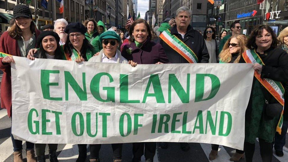 Sinn Féin criticised for 'England get out of Ireland' banner