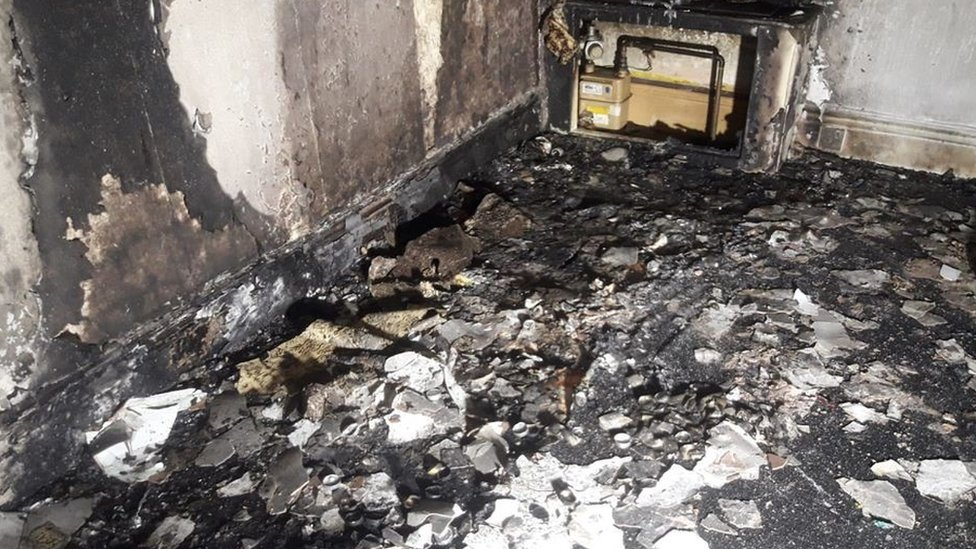 Burnt out room