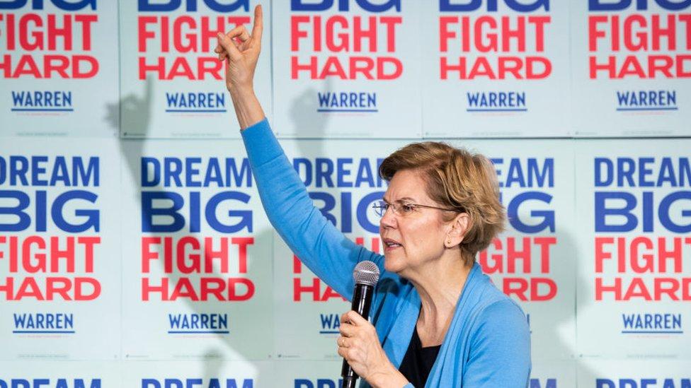 Elizabeth Warren, Bernie Sanders, Pete Buttigieg, Michael Bloomberg, Joe Biden.