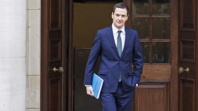 Chancellor George Osborne leaves the Treasury for the House of Commons