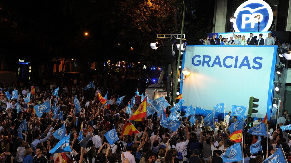 Acting Prime Minister and PP leader Mariano Rajoy at victory rally in Madrid, Spain, June 26, 2016