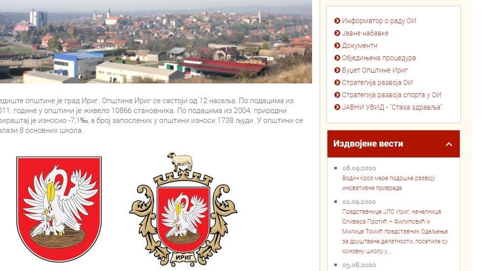 Skrinšot veb stranice opštine Irig