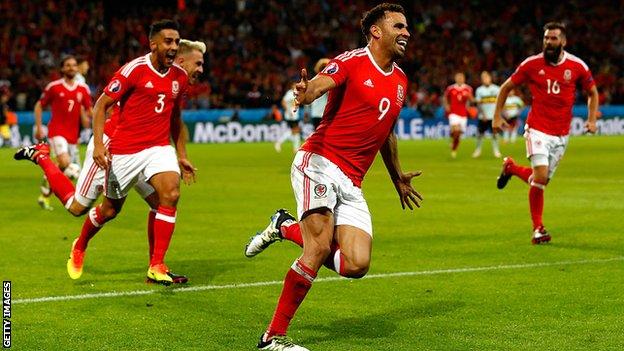 Hal Robson-Kanu celebrates scoring against Belgium