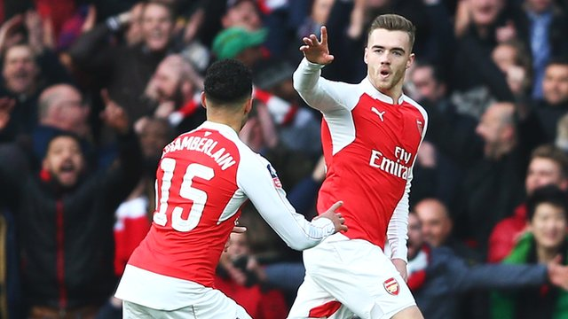 Calum Chambers celebrates for Arsenal