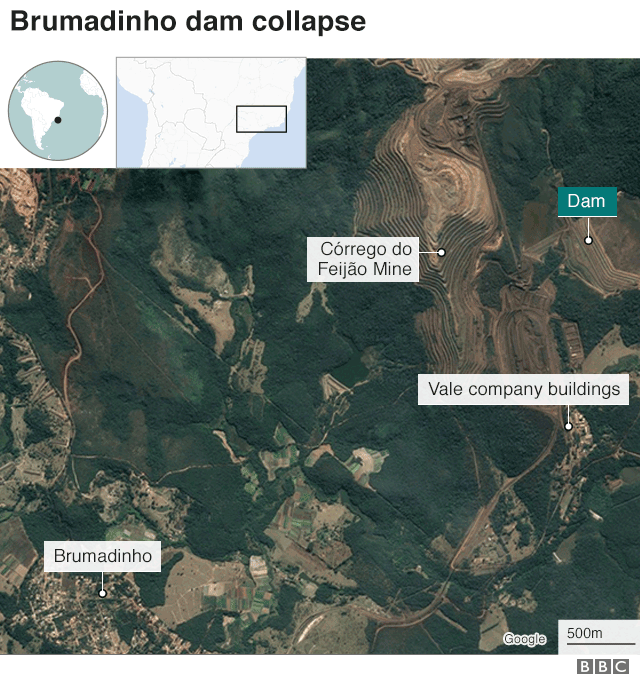 Satellite map of Brumadinho area