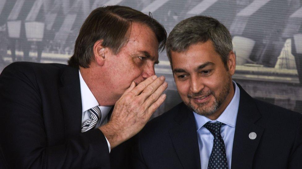Jair Bolsonaro, Presidente do Brasil, e Mario Abdo, Presidente do Paraguai