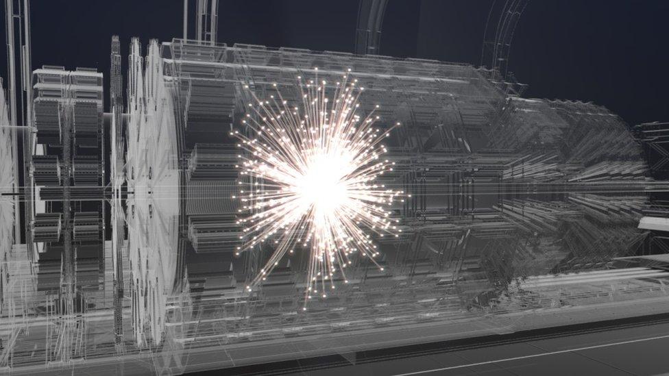 Una simulación de las colisiones a alta velocidad que ocurren en el LHC.