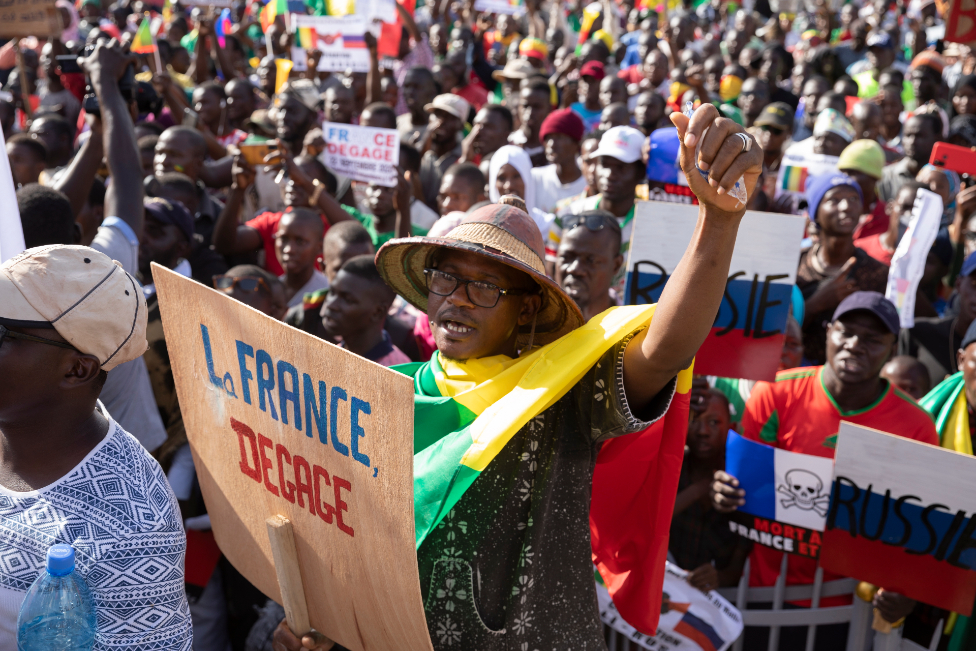 """Malians protest against France""""s military presence in Mali on the 60th anniversary of Mali""""s independence in Bamako, Mali, 22"""