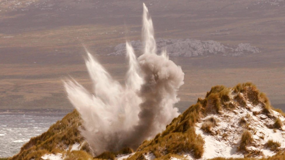 Mine being destroyed near Stanley, Falklands