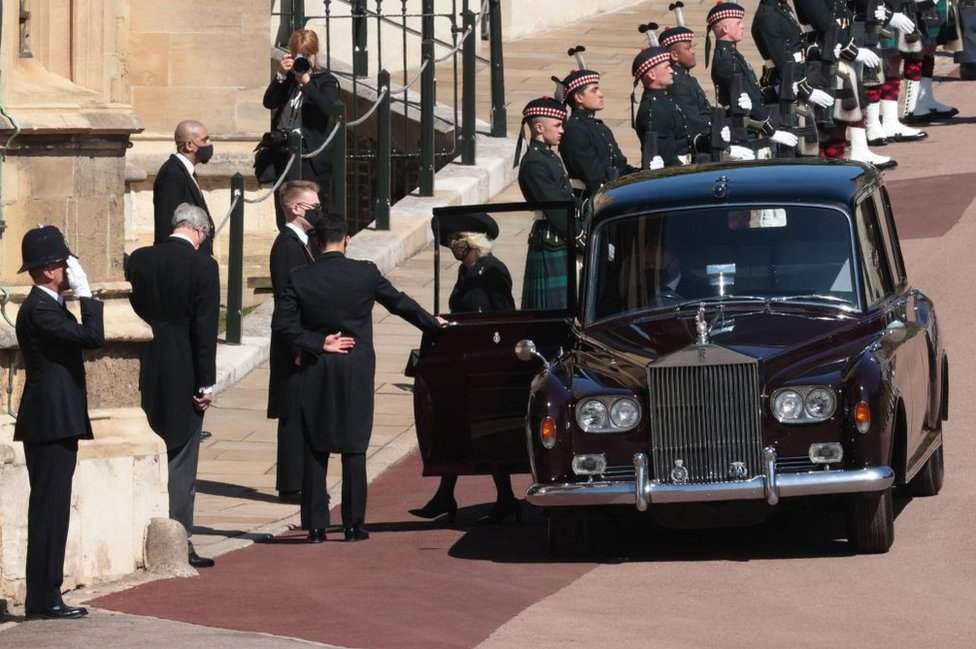The Duchess of Cornwall arrives at St George's Chapel, Windsor Castle